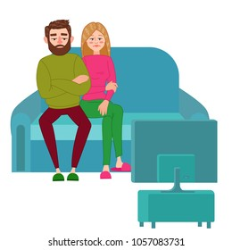 Unhappy Couple Watching TV. Television Addiction. Tired Husbands Sitting on Sofa behind TV Set. Vector illustration