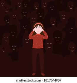 Unhappy depressed girl, mental disorder, psychologist help concept, bullying in school, shadows of people on the background, kid afraid and crying