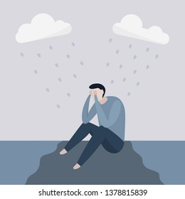 Unhappy depressed man sitting on floor into the rain, man character in depression, man feeling sad or hopeless. Vector illustration flat character.