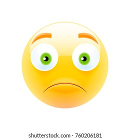 Unhappy Emoji with Green Eyes. Unhappy Emoticon. Smile icon. Isolated Vector Illustration on White Background
