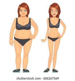 Unhappy fat and happy slim woman, before and after diet and weight loss vector illustration. Concept loss weight, healthy woman and overweight obesity woman.