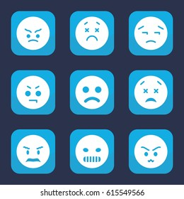 Unhappy icon. set of 9 filled unhappy icons such as angry emot, upset emot, upset and worry emot