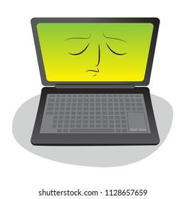 unhappy laptop virus concept