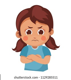 unhappy little girl crossed her arms. child was offended. cartoon vector illustration