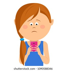 Unhappy little girl has received bad news on mobile smart phone