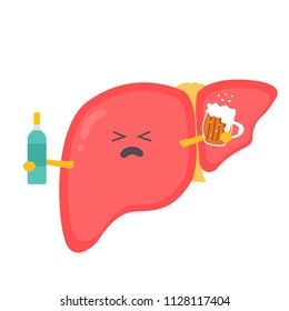 Unhappy liver organ character. Alcohol addiction. Damaging factors alcoholism problem. Bad habits aftermaths