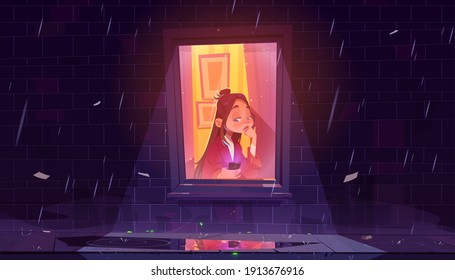 Unhappy lonely girl with smartphone by window in house at rainy night. Vector cartoon illustration of sad woman sitting at city home alone. Concept of sadness, solitude, isolation