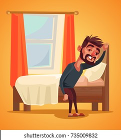 Unhappy man character waking up morning. Insomnia concept. Vector flat cartoon illustration