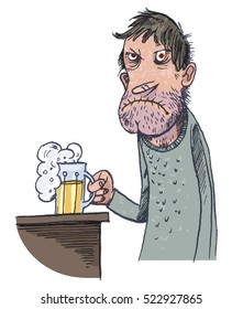 Unhappy Man Drinking Beer