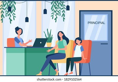 Unhappy mom talking with angry principal director about son isolated flat vector illustration. Cartoon parent sitting in principal room. Education, school and family control concept