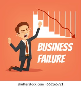 Unhappy nervous crying businessman office worker character have problem with finance. Business failure. Vector flat cartoon illustration
