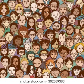 Unhappy people - hand drawn seamless pattern of a crowd of different people who are sad and disappointed (there's an image with happy people in my portfolio too)