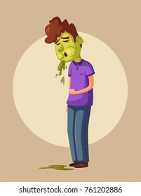 Unhappy person vomiting from food poisoning. Cartoon vector illustration. Sad and sick character.