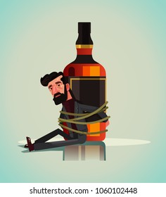 Unhappy sad alcoholic man character chained tied to whiskey vodka beer drink bottle. Alcoholism addict problem dependence bad habit. Vector flat cartoon isolated illustration