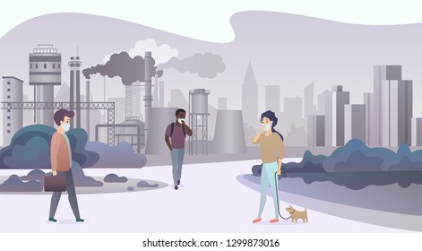 Unhappy sad people wearing protective face masks and walking near depressive factory pipes city with smoke on background. Industrial smog, air pollution and pollutant fog gas vector illustration.