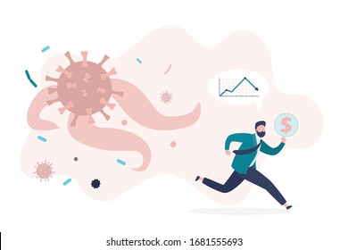Unhappy and shocked trader or investor run from corona virus pandemic. Falling financial markets, pandemic viral infection. Covid-19 attack people and global stock markets. Flat vector illustration