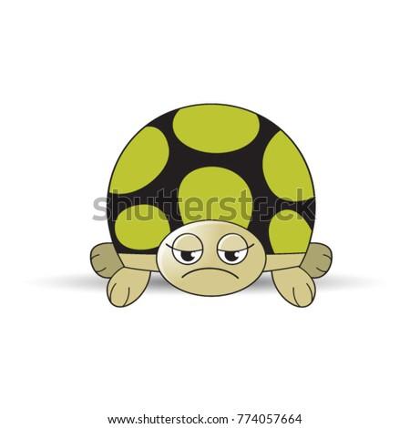 Unhappy Tortoise Cartoon Vector Drawing Color Stock Vektorgrafik