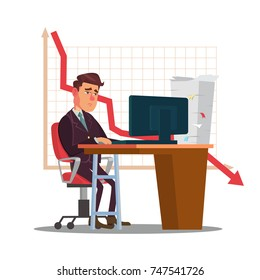 Unhappy Trader Man Vector. Trader Desk In Trader Room. Statistical Reports Spread. Investment Purposes. Isolated Flat Sad Cartoon Character Illustration