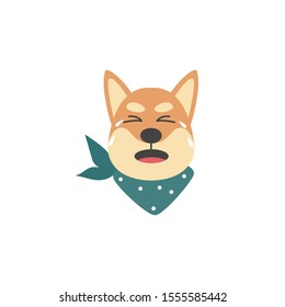 Unhappy and upset shiba inu dog crying, emotions of a pet. Isolated vector flat cartoon illustration of a shiba inu dog face character.