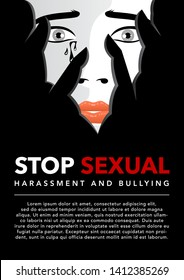 unhappy woman cries covering face with hands vector illustration. violence against women. sexual harassment concept