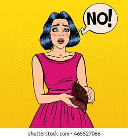 Unhappy Woman Showing Empty Wallet. Financial Failure. Pop Art Vector illustration