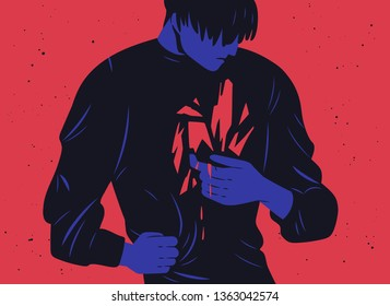 Unhappy young man and his inner trauma or bleeding scar. Concept of depression, mental breakdown, psychical problem, psychological wounds, emotional crisis. Modern flat vector illustration.
