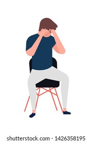Unhappy young man sitting on chair. Depressed boy. Male character in depression, sorrow, sadness, distress, trouble. Mental disorder, illness, psychological problem. Flat cartoon vector illustration.