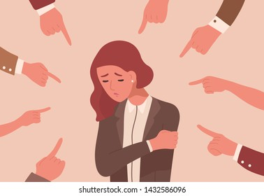 Unhappy young woman surrounded by hands with index fingers pointing at her. Concept of victim blaming, public disapproval, humiliation, abjection, guilt. Flat cartoon colorful vector illustration.