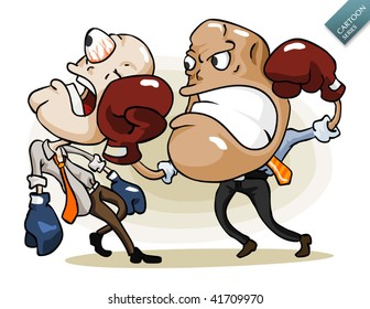 Unhealthy Business Competition. Detailed cartoon vector series in isolated white.
