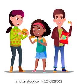 Unhealthy Diet, Boy And Girl Eating Hamburgers, Pizza And Potato Chips Vector. Isolated Cartoon Illustration