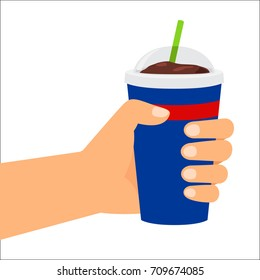 Unhealthy food. Vector illustration, hand holding plastic cup with cola