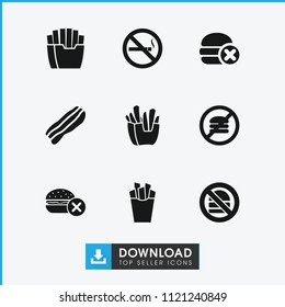 Unhealthy icon. collection of 9 unhealthy filled icons such as no fast food, french fries, no smoking. editable unhealthy icons for web and mobile.