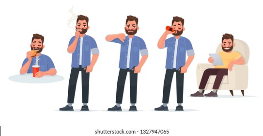 Unhealthy Lifestyle. A man eats junk food, smokes cigarettes, drinks alcohol and sits in a chair, spends time on the Internet. Vector illustration in cartoon style