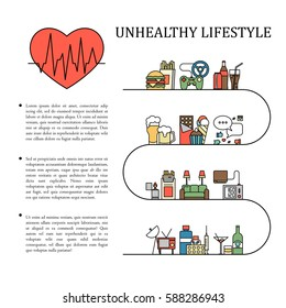 Unhealthy Lifestyle Vector Infographic Information In Line Style With Heart Shape Unnatural Life Background Illustration