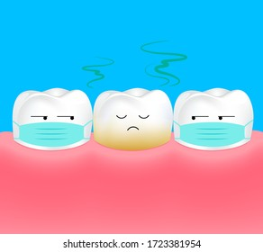Unhealthy Tooth. Tooth is halitosis or bad breath. Dental care concept. Illustration.