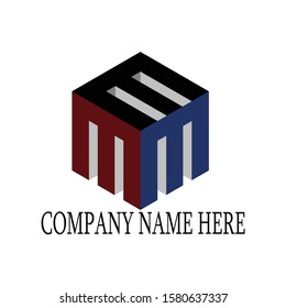 Unic triple M with box for logo design inspiration - Vector