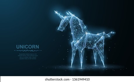 Unicorn. Abstract vector origami paper unicorn isoleted on blue. Magic, fantasy horse dream, miracle believe or wish symbol. Asia, japan art, origami concept illustration or background