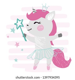 Unicorn baby girl cute print. Sweet pony with magic wand, ballet skirt, crown on striped background. Cool animal illustration for nursery, t-shirt, kids apparel, birthday card. Simple girly design