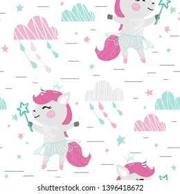 Unicorn baby girl cute seamless pattern. Sweet pony with magic wand, bow, tutu, pointe. Cool animal illustration for nursery wallpaper, t-shirt, kids apparel, baby print, party. Simple girly design