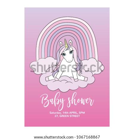 Unicorn Baby Shower Invitation Card Nice Stock Vector Royalty Free