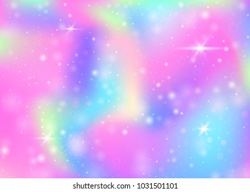 Unicorn background with rainbow mesh. Colorful universe banner in princess colors. Fantasy gradient backdrop with hologram. Holographic unicorn background with magic sparkles, stars and blurs.