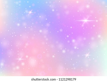Unicorn background with rainbow mesh. Cute universe banner in princess colors. Fantasy gradient backdrop with hologram. Holographic unicorn background with magic sparkles, stars and blurs.