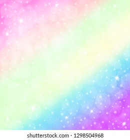 Unicorn background with rainbow mesh. Mystical universe banner in princess colors. Fantasy gradient. Holographic unicorn background with magic sparkles, stars and blurs