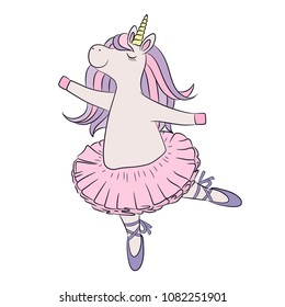 Unicorn ballerina dancing, cute baby girl wearing pink tutu skirt and ballet shoes. Little lovely pony horse, colorful vector illustration for kids print, fashion wear, clothing, book, birthday card.