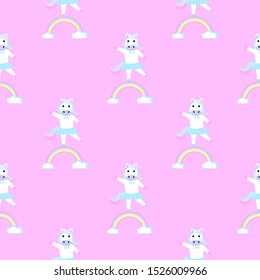 Unicorn ballerina in a wreath and a skirt. Seamless pattern for the decoration of the nursery for a girl or boy, for the design of kids clothing, things
