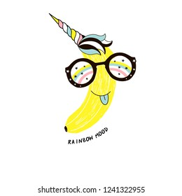 unicorn banana fruit wearing colorful sunglasses, funny veggie character, rainbow mood phrase, vector hand drawn illustration for kids poster and summer t-shirt design, isolated on white