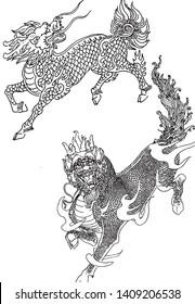 The unicorn beast in Chinese mythology