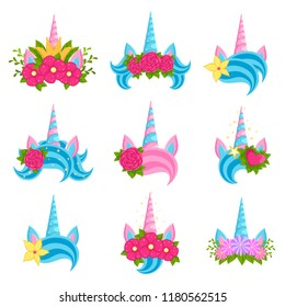 Unicorn beautiful tiaras with bright flowers set. Fairy animal horn decorated with lovely flowers. Vector flat style cartoon magic tiaras illustration isolated on white background
