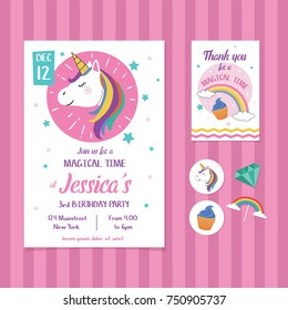 Unicorn Birthday Invitation Card Template with Unicorn Head Illustration