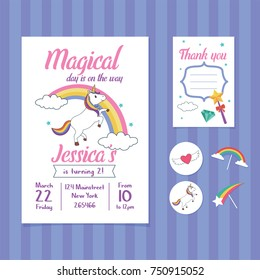Unicorn Birthday Invitation Card Template with Unicorn and Rainbow Illustration